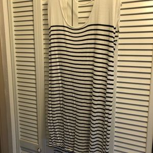Open back black and white stripe dress